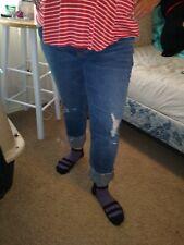 Cute Indigo Blue Capri Maternity Jeans Medium-Large Cuffed Ripped Distressed