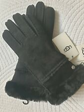 Ugg Australia Women's SEAMED TECH GLOVES SHEEPSK SUEDE Black  M- BNWT