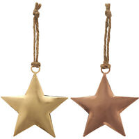 Set of 6 Vintage Hanging Metal Stars Chic Christmas Ornament Tree Decorations