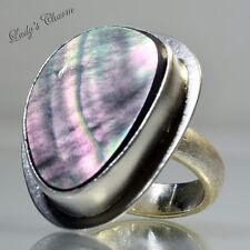 Designer Amy Faust Black Mother Of Perl Sterling Silver Ring Size 8