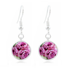 16Mm Glass Cabochon Long Earrings #453 Pink Roses Art Tibet Silver Dome Photo