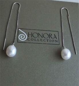 HONORA WHITE CFW PEARL 10mm x 9mm STERLING SILVER THREADER EARRINGS NEW BOX QVC