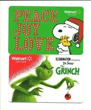 Lot (2) Different Walmart Gift Cards No $ Value Collectible Snoopy Grinch