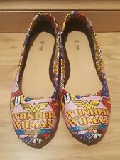 DC Comics themed Womens wonder Pink - Womens flat Shoes - Size 10 - Custom made