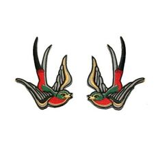 Set of 2 Multi-Color Swallow Birds Sailor Tattoo Style Iron-On Applique Patch