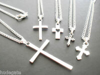 10 Silver Plated Necklaces with Mixed Cross Pendants Wholesale Jewellery Job Lot