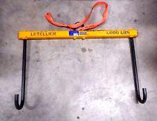 Letllier 1000 lb Lifting Beam 26 lb Hook Lifter w Hooks ASME BTH-1 Serial 120708