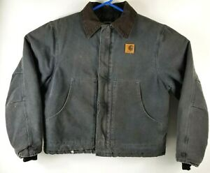 Carhartt Canvas Gray Quilted Distressed Jacket Lrg Cord Collar Zip Up Work Barn