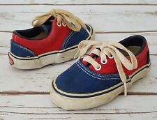 Vintage Kinney Kids Toddler Baby Shoes Red Blue Canvas Lace Up Size 5 Korea