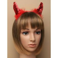 Ladies Girls Red Sequin Devil Horns Aliceband Halloween Fancy Dress