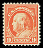 Scott 509 1917 9c Salmon Red Franklin Perf 11 Issue Mint F-VF OG NH Cat $25