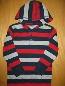 NWT Gymboree Mix and Match Size 6 Blue Red Striped Hooded Henley Shirt Top