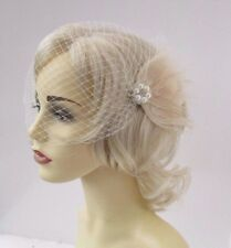 Ivory Cream Silver Feather Bridal Bandeau Birdcage Veil Hair Fascinator 4643
