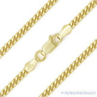 3.5mm Miami Cuban Curb Link Italy Sterling Silver 14k Yellow Gold Chain Necklace