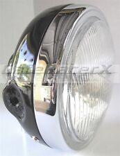 "Motorcycle Headlight 6-1/2"" BLACK Shell Side Mount w/ Light Cafe Chopper DOT"