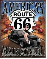 Route 66 America's Main Street Mother Road Highway Retro Decor Metal Tin Sign