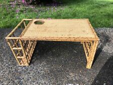 Vintage Bamboo Wicker Woven Lap Bed Tray Table In Excellent Condition