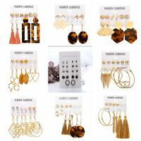 Boho Tassel Crystal Pearl Resin Drop Dangle Earrings Set Women Ear Stud Jewelry
