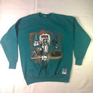 Nutmeg Miami Dolphins Mens Vintage Crewneck Sweatshirt Sz Large NFL Football