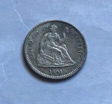 1861 1 over 0 Seated Liberty Half Dime:  Choice AU details