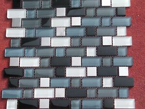 MOSAIC STAINLESS STEEL & GLASS  300X300MM TILE(no.11)