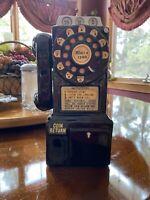 Vintage Art Deco Ceramic Coin BANK, Black Pay Rotary Phone / Telephone