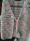 Crocheted home handmade vintag vest Girl's white pink blue tassels HIPPIE BOHO