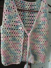 Crocheted home handmade vintag vest Girl's white pink blue tassels HIPPIE 70/80s