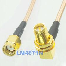 "cable RP.SMA  plug to female jack bulkhead right angle RG316 6"" pigtail FPV"