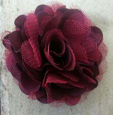 "Girls Womens 3""satin & Net Full Flower Hair Clip, Brooch, corsage BURGUNDY"