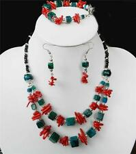 Red Coral  Azurite Necklace bracelet Earring Set X60