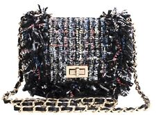 Tweed Fringe Chain Strap Handbag Crossbody Flap Bag Blue Black Grey