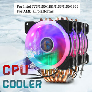 RGB CPU Cooler PC 3 Cooling Fan 6 Heatpipe For Intel 775 1150 1156 1155 AMD AM4
