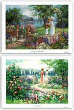 Lakeside Morning & Spring Reflection by B. Mock~Set 2 Women in Garden Art Prints