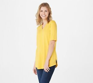 Isaac Mizrahi Live! Essentials V-Neck Elbow Sleeve Top Yellow Size Large