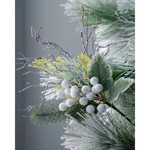 Artificial Frosted Berries Pick Christmas Tree Decoration White 31 cm