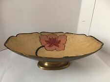"""Solid Brass Floral Enameled Footed Bowl Scalloped Oval Made in India 9-3/4"""""""