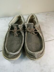 Hey Dude Wally Hemp/Woven Espadrille Tie Boat Flats Shoe Men's Size 8 EU 41