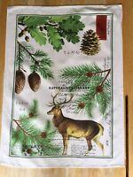Vintage Cloth Tea Towel Hanging The Naturalist Library Deer Michel Design Works