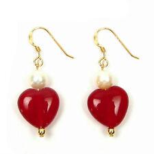Genuine White Pearl & Red Jade Heart 14K Gold Filled Hook Earrings