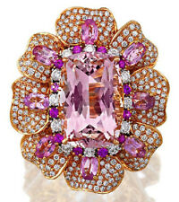 4.08ct NATURAL ROUND DIAMOND AMETHYST 14K ROSE GOLD WEDDING ANNIVERSARY BROOCH