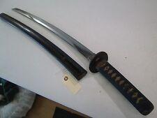 JAPANESE BIZEN SAMURAI WAKISASHI SWORD W SCABBARD SIGNED SUKESADA OLD MOUNTS 327