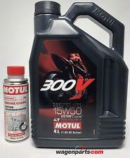 Aceite Motos 4T Motul 300V FL Road Racing 15W50, duo 4 litros-Engine Clean 200ml