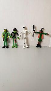 X4 Vintage DRACULA Vampire, witch, skeleton Bendy Figures Toy Bendable Figurine