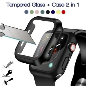 For Apple Watch 360 Screen Protector Tempered Glass Cover Case Series 3/4/5/6/SE