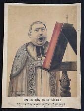 Petrus USELDING (1849-?) Un lutrin au 18e s.dessin et lavis Hommage d'amitié...