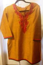 Womens Golden Yellow Top with embroidery in Orange Red, size XL