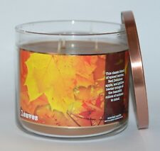 BATH & BODY WORKS LEAVES SCENTED CANDLE 3 WICK 14.5 OZ LARGE APPLE NECTAR SPICE