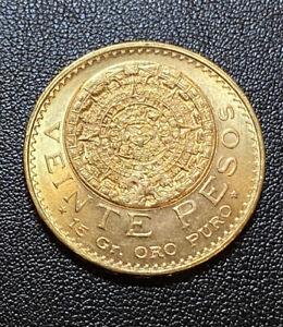 1959 Gold 20 Pesos Mexico Veinte Pesos Aztec Calendar Coin 15 Gr Oro Puro Unc