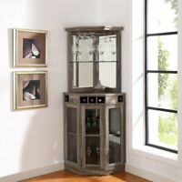 Mini Bar Corner Liquor Cabinet Wine Storage Stemware Rack Dining Room Furniture